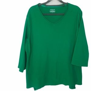 Westbound 3/4 Sleeve V Neck Top Green Size XL